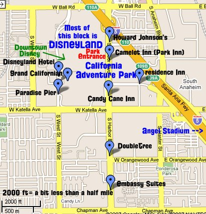 The First Thing To Notice On This Map Of Disneyland Hotels Is Where It Takes Up That Whole Block Between W Ball Road And Katella Avenue